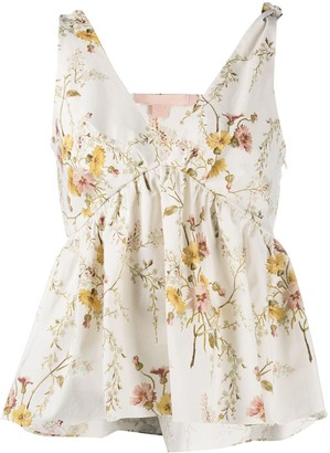 Brock Collection Floral-Print Ruffled Vest