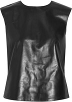 Leather and stretch-jersey top