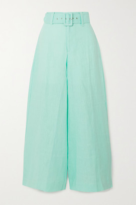 Faithfull The Brand Rose Cropped Linen Wide-leg Pants - Turquoise