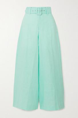 Faithfull The Brand Rose Cropped Linen Wide-leg Pants - Turquoise