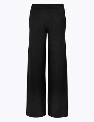 Marks and Spencer Pure Cashmere Ribbed Wide Leg Trousers