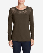 Eddie Bauer Women's Long-Sleeve Crochet Top Slub T-Shirt