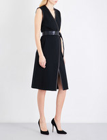 St. John Leather-trimmed wool-blend dress