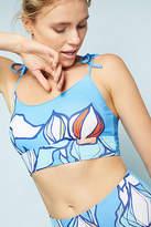 Allihop Printed Tie-Strap Longline Swim Bikini Top