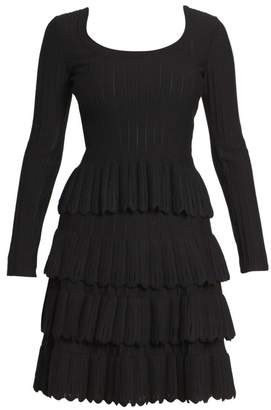 Alaia Long-Sleeve Scallop Hem Wool-Blend Top