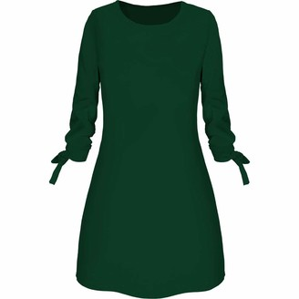Your New Look Women's Elegant Solid Color 3/4 Bandage Sleeve Crewneck A Line Dress Fashion Shirt Dress Tunic Dress for Work Party Plus Size Green