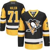 Reebok Evgeni Malkin Pittsburgh Penguins Black Yellow Premier Alternate Jersey Youth Large/X-Large