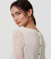 LOFT Lace Sleeve Button Back Sweater