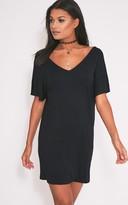 PrettyLittleThing Basic Black V Neck T Shirt Dress