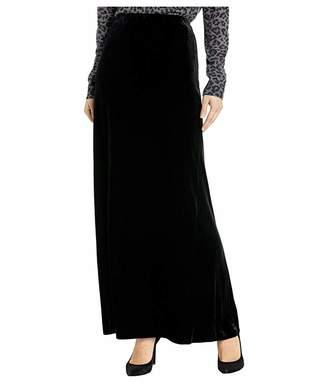 Alex Evenings Long Velvet Skirt with Side Slit