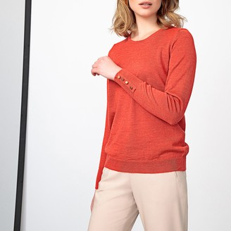 Anne Weyburn Plain Merino Wool Mix Jumper with Crew Neck and Buttoned Cuffs