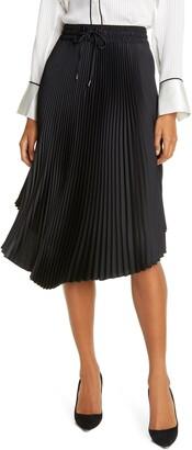 Club Monaco Pleated Scoop Hem Midi Skirt