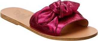 Ancient Greek Sandals Taygete Bow Metallic Canvas Sandal
