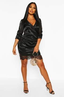 boohoo Satin Lace Trim Shirt Dress
