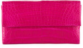 Nancy Gonzalez Simple Flap Crocodile Clutch Bag, Pink