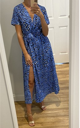 Gini London Animal Printed Short sleeve Midi Wrap Dress in Blue