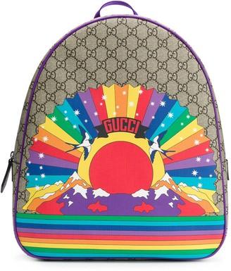 Gucci Kids GG rainbow birds backpack