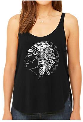 La Pop Art Women Premium Word Art Flowy Tank Top- Popular Native American Indian Tribes