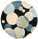 "Momeni Rugs NEWWANW-37TEL590R New Wave Collection, 100% Wool Hand Carved & Tufted Contemporary Area Rug, 5'9"" Round, Blue"