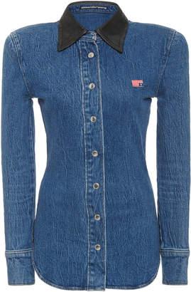 Alexander Wang Leather-Collar Denim Button-Front Shirt