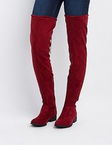 Charlotte Russe Qupid Drawstring Flat Over-The-Knee Boots
