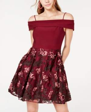 Morgan & Company Juniors' Embroidered Cold-Shoulder Fit & Flare Dress