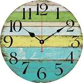 """Grazing 12"""" Vintage Blue Green Yellow Colorful Stripe Design Rustic Country Tuscan Style Wooden Decorative Round Wall Clock (Ocean)"""