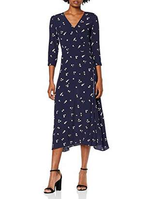 Warehouse Women's Verity Ditsy Floral Wrap Midi Dress,(Size:)