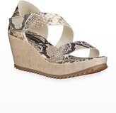 Thumbnail for your product : Pedro Garcia Fely Snake-Print Wedge Sandals