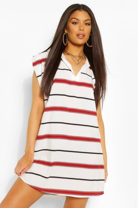 boohoo Rugby Collar Shoulder Pad Stripe Dress
