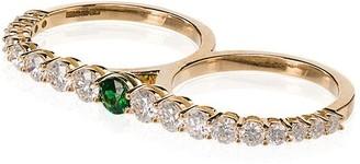 Melissa Kaye 18kt gold Aria two-finger diamond ring