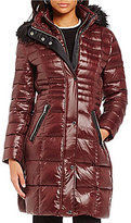 KARL LAGERFELD PARIS Karl Lagerfeld Paris Lux Nylon Down Faux-Fur Collar Shiny Puffer Coat
