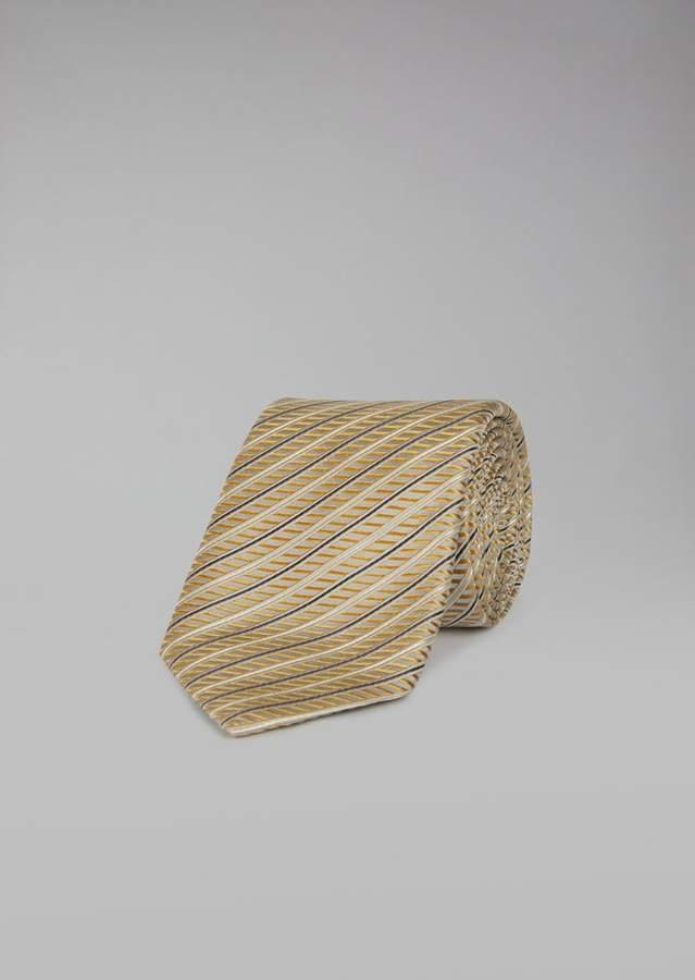 Giorgio Armani Silk And Cotton Tie With Regimental Jacquard Pattern