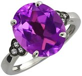 Gem Stone King 4.26 Ct Oval Purple Amethyst and White Diamond 18k White Gold Ring