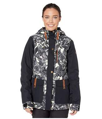 Roxy Andie Snow Jacket (Oyster Gray Hawaiian Palm Leaf) Women's Coat