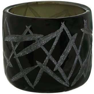 "Aspen Creative Corporation Aspen Creative Black Glass Votive Candle Holder 3-1/2"" Diameter x 3-1/4"" Height, 1 Pack"