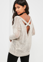 Missguided Nude Harness Detail Sweater