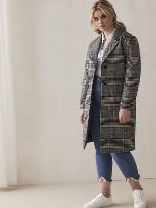 Mid-Length Plaid Overcoat - Addition Elle