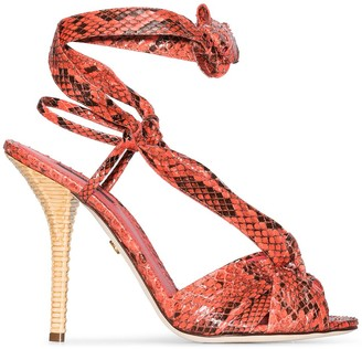 Dolce & Gabbana 105mm Python-Effect Sandals