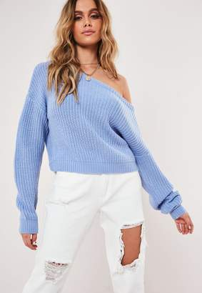 Missguided Tall Blue Crop Off The Shoulder Knitted Jumper