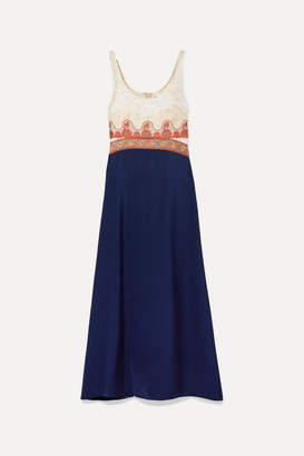 Chloé Paneled Embroidered Tulle, Jacquard, Chiffon And Satin Midi Dress - Blue