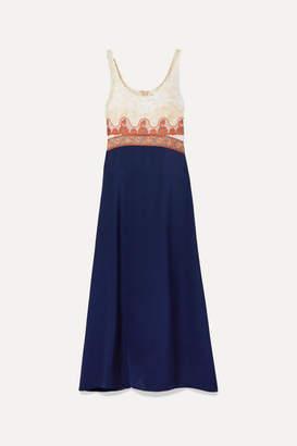 Chloé Paneled Embroidered Tulle, Jacquard, Chiffon And Satin Midi Dress - Blue
