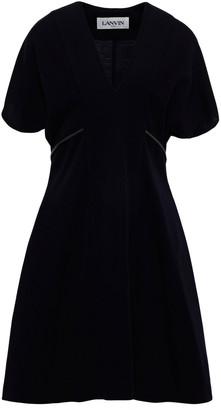 Lanvin Leather-trimmed Wool-jersey Mini Dress