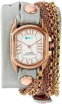 La Mer Women's 'Sunset Chain' Quartz Gold and Leather Watch, Color:Grey (Model: LMCW2016365)