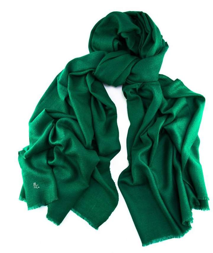 Bright By Black Emerald Green Handwoven Cashmere Shawl