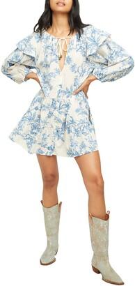 Free People Sunbaked Floral Long Sleeve Swing Minidress