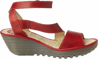 Fly London Yesk Women's Ankle Strap Wedge Sandals - Red (Red) 8 UK (41 EU)