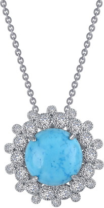 Lafonn Platinum Plated Sterling Silver Simulated Diamond & Turquoise Long Art Deco Pendant Necklace