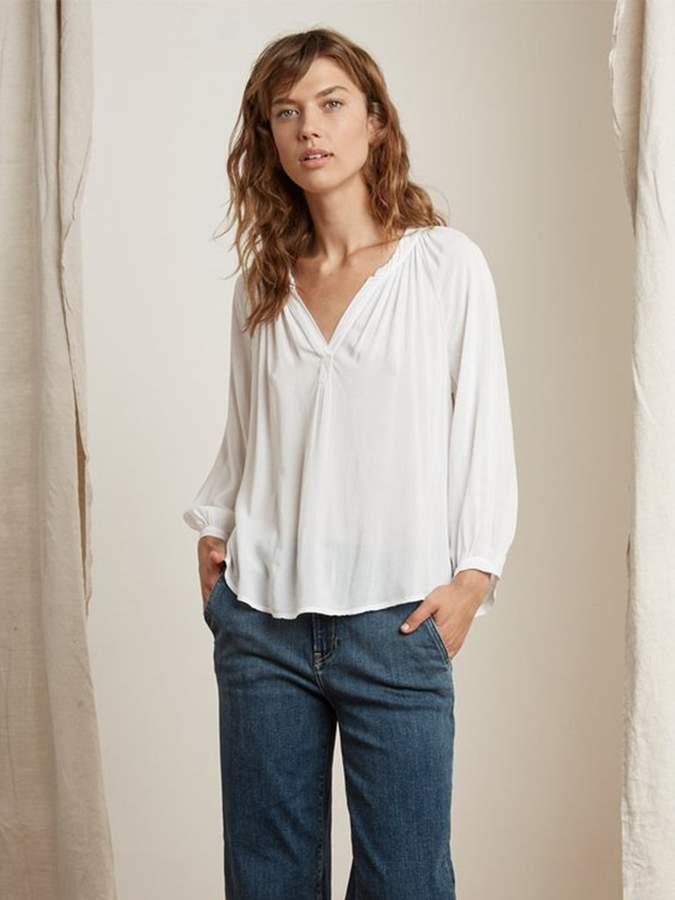 Graham & Spencer Velvet By Velvet by Kady Shirt In White - XS