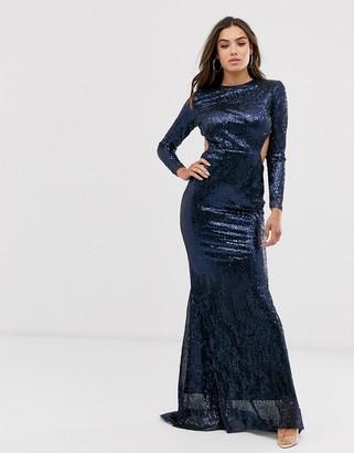 Club L London open back plisse sequin fishtail maxi dress-Navy